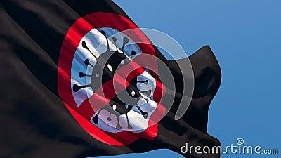 Flaga z obrazem koronawirusa leci na wietrze zbiory wideo