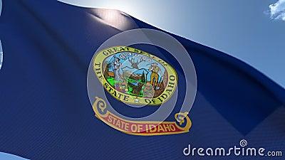 Flagge von Idaho wellenartig bewegend in den Wind stock video