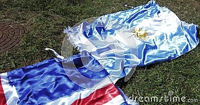 Flaggen von Island und von Argentinien stock video