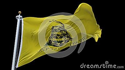 Flaggenanimation 4k A der Gadsden-Flagge nannte manchmal die Teepartyflagge stock footage