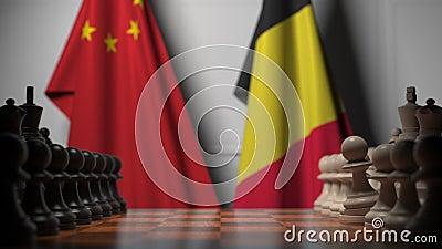 Flagi Chin i Belgii za pionkami na szachownicy Animacja 3D związana z grami szachowymi lub rywalizacją polityczną zdjęcie wideo