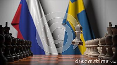 Flagi Rosji i Szwecji za pionkami na szachownicy Animacja 3D związana z grami szachowymi lub rywalizacją polityczną zdjęcie wideo