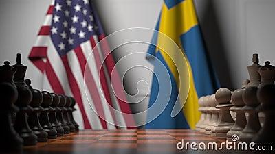 Flagi Stanów Zjednoczonych i Szwecji za pionkami na szachownicy Animacja 3D związana z grami szachowymi lub rywalizacją polityczn zdjęcie wideo
