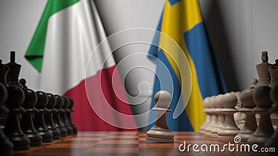 Flagi Włoch i Szwecji za pionkami na szachownicy Animacja 3D związana z grami szachowymi lub rywalizacją polityczną zbiory wideo