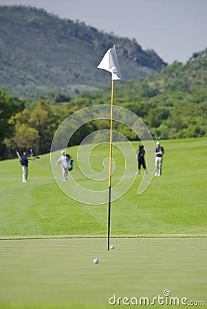Flagpole, Balls, Green, Fairway, & Blurred Players