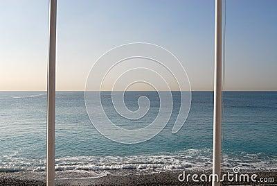 Flagpoles at the Mediterranean Sea