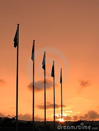 Flagpoles and Sunset