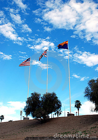 The flags of Arizona, Great Britain and the USA