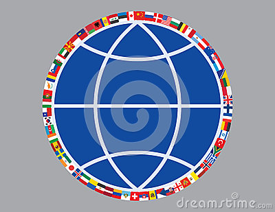 Flags around sign of globe