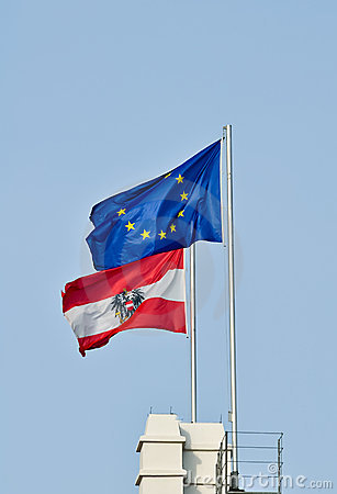Flags of austria and the european union