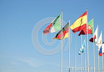 Flags on a blue sky