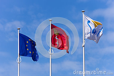 Flags on the blue sky Editorial Image