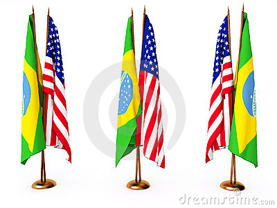 Flags of Brazil and the United State