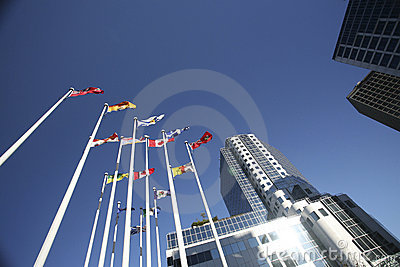 Flags and buildings in downtown Vancouver
