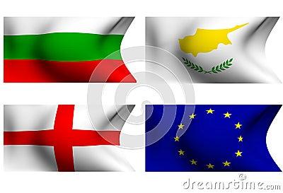 Flags of Bulgaria, Cyprus, England and EU