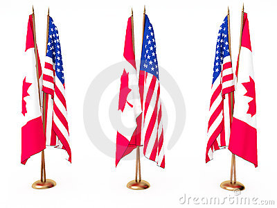 flags of Canada and the United State