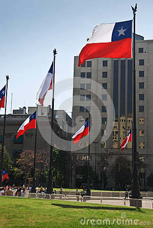Flags of Chile Editorial Photography