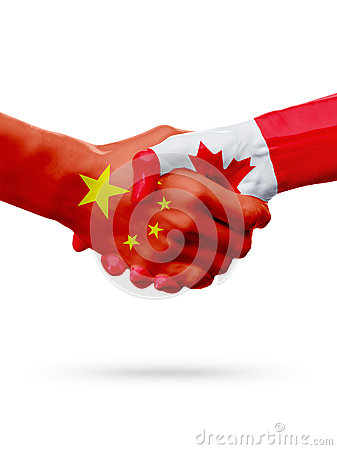 Free Flags China, Canada Countries, Partnership Friendship Handshake Concept. 3D Illustration Royalty Free Stock Photography - 89829597