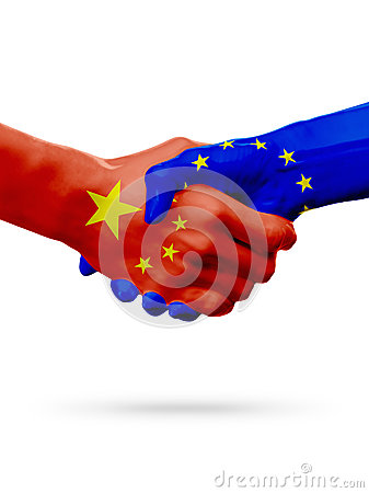 Free Flags China, European Union Countries, Partnership Friendship Handshake Concept. 3D Illustration Stock Photo - 89829700