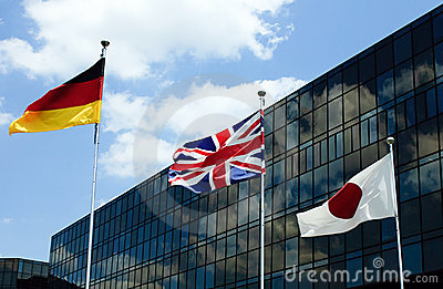 Flags with Corporate Building