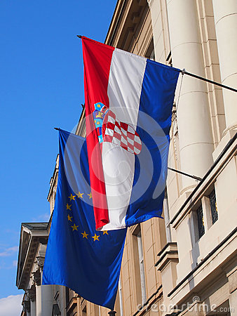 Flags of Croatia and EU