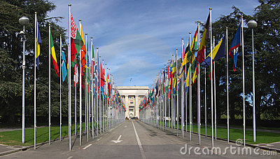 flags at the entrance to UN