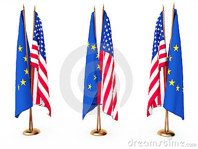 Flags of EU and the United State