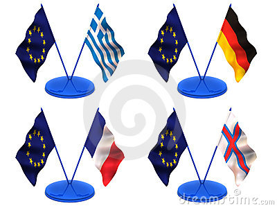 Flags. Euro, Greece, Germany, France, Farrery