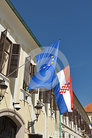 Flags of European Union and Croatia