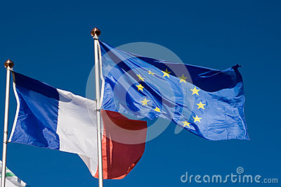 Flags of the European Union and France