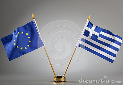 Flags of European Union and Greece