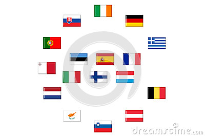 Flags of eurozone countries