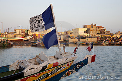 Flags on a fisher boat