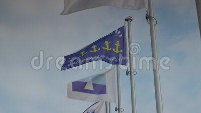 Flags flattering in the marina close up, 4k stock video footage