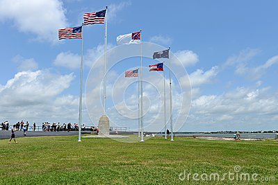 Flags Flying Over Fort Sumter Charleston Sc Editorial