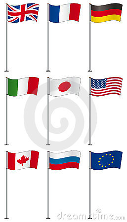 Flags of G8 members on flag pole isolated