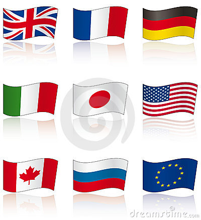 Flags of G8 members with reflection