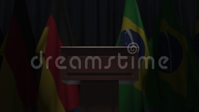 Flags of Germany and Brazil and speaker podium tribune. Political event or negotiations related conceptual 3D animation. Flag and speaker podium tribune stock video