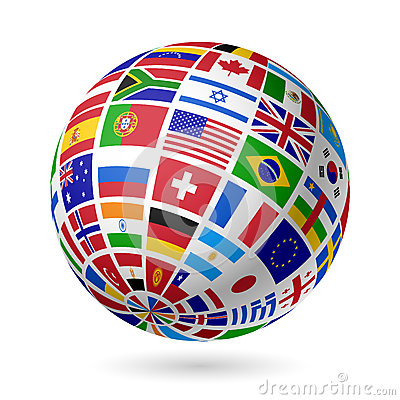 Free Flags Globe Stock Image - 26394831