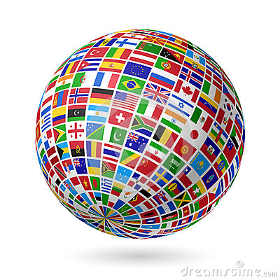 Free Flags Globe Stock Photography - 26456632