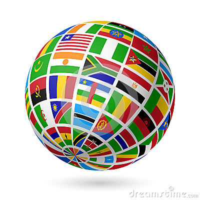 Free Flags Globe. Africa. Royalty Free Stock Photography - 26370547