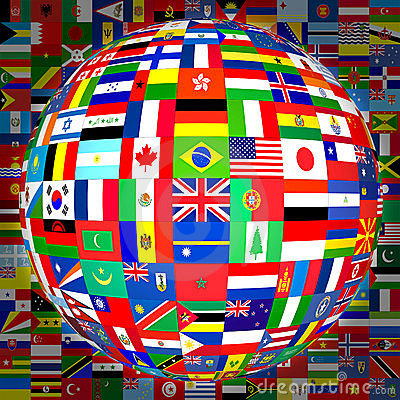 Free Flags Globe (with Background) Royalty Free Stock Images - 541489