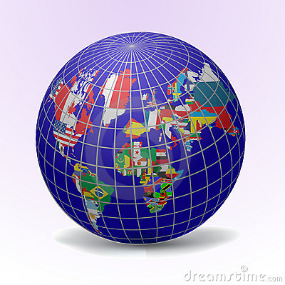 Flags globe with world map cartoon vector cartoondealer flags globe with world map cartoon vector sciox Images