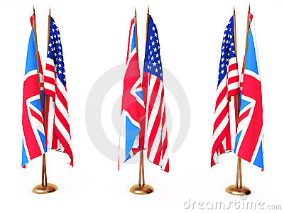 Flags of Great Britain and the United State