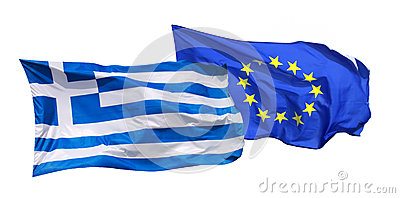Flags of Greece and EU, isolated on white