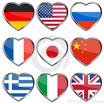 Free Flags In Hearts Stock Images - 19354814
