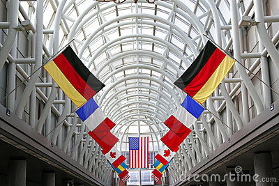 Flags in International Airport