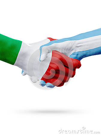 Free Flags Italy, Argentina Countries, Partnership Friendship Handshake Concept. 3D Illustration Royalty Free Stock Photography - 89872577