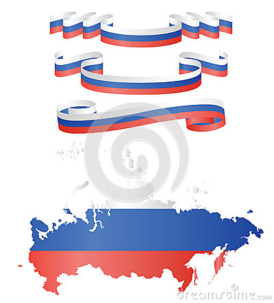 Flags and map of Russia