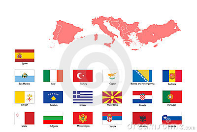 Flags and map of southern Europe